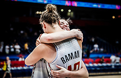 Kim Mestdagh of Belgium and Jana Raman of Belgium celebrate after winning during basketball match between Women National teams of Belgium and Slovenia in the Qualification for the Quarter-Finals of Women's Eurobasket 2019, on July 2, 2019 in Belgrade Arena, Belgrade, Serbia. Photo by Vid Ponikvar / Sportida
