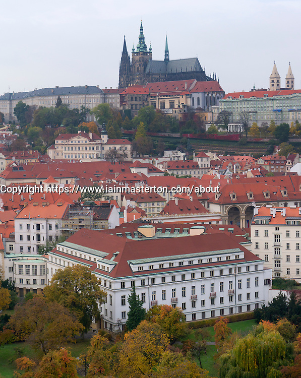 Ariel view of Mala Strana Old Town district with castle in Prague in Czech Republic