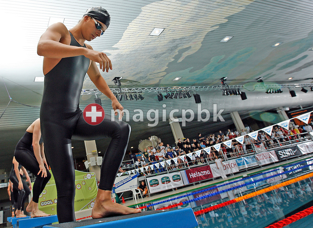 SCUW's Maximilien BON of Switzerland steps on the starting block to compete in the men's 200m freestyle B-Final at the Swiss Swimming Championships in Zurich (Zuerich) Oerlikon, Switzerland, Friday, March 20, 2009. (Photo by Patrick B. Kraemer / MAGICPBK)