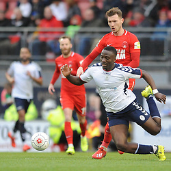 TELFORD COPYRIGHT MIKE SHERIDAN 16/3/2019 - Dan Udoh of AFC Telford is fouled by Craig Clay of Orient during the FA Trophy semi final first leg fixture between Leyton Orient and AFC Telford United at Brisbane Road.