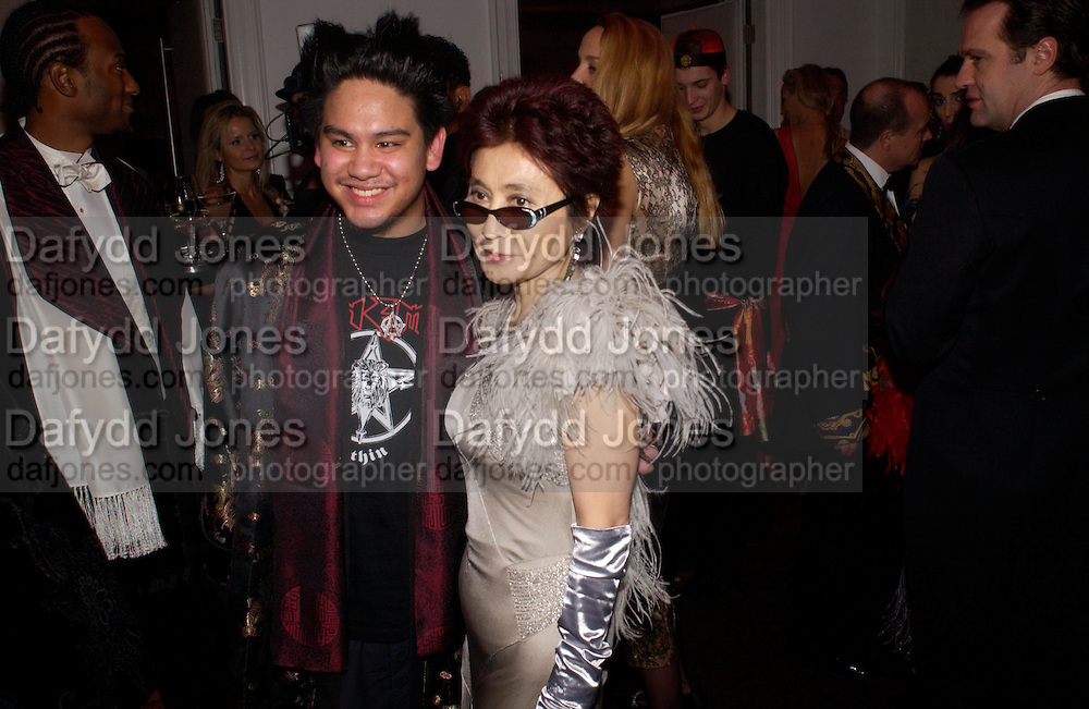 Prince Azim of Brunei and Yoko Ono.  Andy & Patti Wong's Chinese New Year party to celebrate the year of the Rooster held at the Great Eastern Hotel, Liverpool Street, London.29th January 2005. The theme was a night of hedonism in 1920's Shanghai. . ONE TIME USE ONLY - DO NOT ARCHIVE  © Copyright Photograph by Dafydd Jones 66 Stockwell Park Rd. London SW9 0DA Tel 020 7733 0108 www.dafjones.com