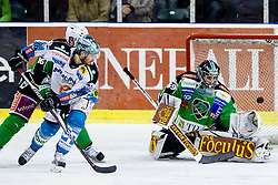 Rob Hisey (EHC Liwest Linz, #26) and Matija Pintaric (HDD Tilia Olimpija, #69) during ice-hockey match between HDD Tilia Olimpija and EHC Liwest Black Wings Linz at fourth match in Semifinal  of EBEL league, on March 13, 2012 at Hala Tivoli, Ljubljana, Slovenia. (Photo By Matic Klansek Velej / Sportida)