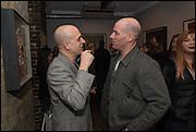 Steve Lazarides; Paul Rowe, Antony Micallef private at Lazarides Rathbone, 11 RATHBONE PLACE, London. 12 February 2015