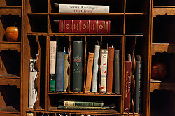 © Licensed to London News Pictures. 26/02/2016. London, UK. Items in a bookcase on display.  Property from the personal collection of Deborah, Duchess of Devonshire (1920-2014), will be offered for sale at Sotheby's on 2 March,  The youngest of the Mitford Sisters, the Duchess was the chatelaine of Chatsworth, one of England's greatest stately homes, and at the heart of British rural, cultural and political life.  The proceeds of the items in the eclectic collection are expected to realise £500,000 to £700,000. Photo credit : Stephen Chung/LNP