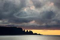 Drangaskörð at sunset, seen from Munaðarnes in fiord Ingólfsfjörður, Strandir Iceland.