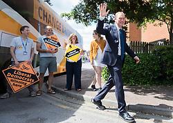 © Licensed to London News Pictures. 01/06/2017. London, UK. Liberal Democrat Leader TIM FARRON arrives for a rally at the Shiraz Mirza Community Centre in Norbiton. Photo credit: Rob Pinney/LNP