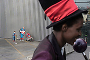 UNITED KINGDOM, London: 25 October 2015. <br /> Comic Con Feature.<br /> A family get themselves organised outside of the ExCel Arena before going into the Comic Con..<br /> Photo: Rick Findler / Story Picture Agency