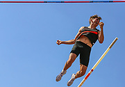 Harry COPPELL celebrates in the Men's Pole Vault Final after clearing a championship record jump of 5.71m and winning gold during the Muller British Athletics Championships at Alexander Stadium, Birmingham, United Kingdom on 24 August 2019.