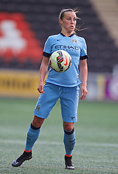WIDNES, ENGLAND - Sunday, April 26, 2015: Manchester City's Natasha Harding in action against Liverpool during the FA Women's Super League match at the Halton Stadium. (Pic by David Rawcliffe/Propaganda)