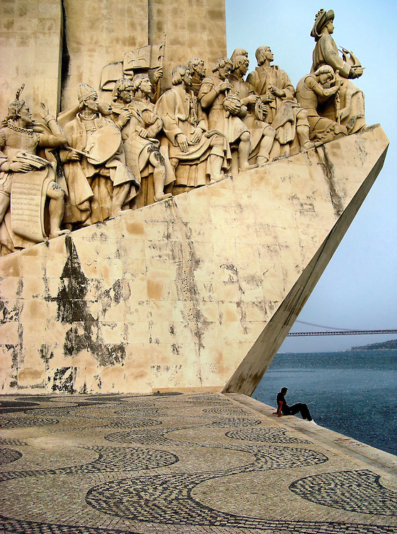 Discoveries Monument on North Bank of Tagus River in Lisbon, Portugal<br />