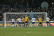 Newport Joe Day (1) makes a crucial save late in to the second half during the The FA Cup 4th round match between Newport County and Tottenham Hotspur at Rodney Parade, Newport, Wales on 27 January 2018. Photo by Gary Learmonth.