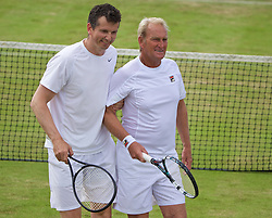 LIVERPOOL, ENGLAND - Sunday, June 21, 2015: Richard Krajicek (NED) and Peter McNamara (AUS) during Day 4 of the Liverpool Hope University International Tennis Tournament at Liverpool Cricket Club. (Pic by David Rawcliffe/Propaganda)