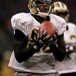 24 August 2009: New Orleans Saints wide receiver Paris Warren (82) catches a pass during New Orleans Saints training camp practice at the Louisiana Superdome in New Orleans, Louisiana.