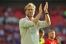 LONDON, ENGLAND - Saturday, August 6, 2016: Liverpool's manager Jürgen Klopp after the 4-0 victory over Barcelona during the International Champions Cup match at Wembley Stadium. (Pic by Xiaoxuan Lin/Propaganda)