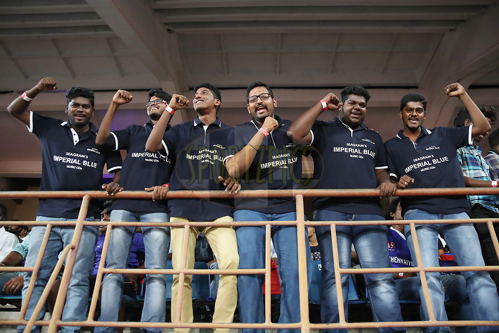 Imperial Blue Fan Group of Chennaiyin FC during match 6 of the Hero Indian Super League between Chennaiyin FC and NorthEast United FC held at the Jawaharlal Nehru Stadium, Chennai India on the 23rd November 2017<br /> <br /> Photo by: Suman Dasgupta  / ISL / SPORTZPICS