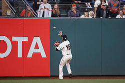 SAN FRANCISCO, CA - APRIL 18:  Angel Pagan #16 of the San Francisco Giants fields a ball hit off the left field wall by Jake Lamb (not pictured) of the Arizona Diamondbacks for a double during the first inning at AT&T Park on April 18, 2016 in San Francisco, California.  (Photo by Jason O. Watson/Getty Images) *** Local Caption *** Angel Pagan