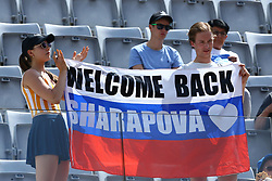 May 18, 2018 - Rome, Italy - Sharapova supporters with a russian flag at Foro Italico in Rome, Italy during Tennis WTA Internazionali d'Italia BNL quarter-finals on May 18, 2018. (Credit Image: © Matteo Ciambelli/NurPhoto via ZUMA Press)