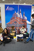 Buchmesse Frankfurt, biggest book fair in the World. Young people from Italy visiting their country's editors' booths.