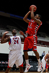 Nov 15, 2011; Stanford CA, USA;  Fresno State Bulldogs forward Jerry Brown (0) shoots over Southern Methodist Mustangs forward Robert Nyakundi (24) during the first half of a preseason NIT game at Maples Pavilion.  Mandatory Credit: Jason O. Watson-US PRESSWIRE
