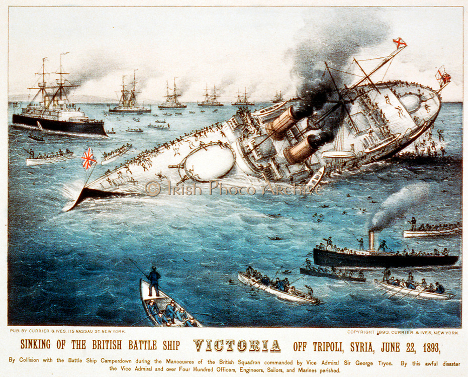 Sinking of the British battle ship Victoria off Tripoli, Syria, June 22, 1893  by Currier & Ives--Sinking of the British battle  lithograph, hand-colored. c1893