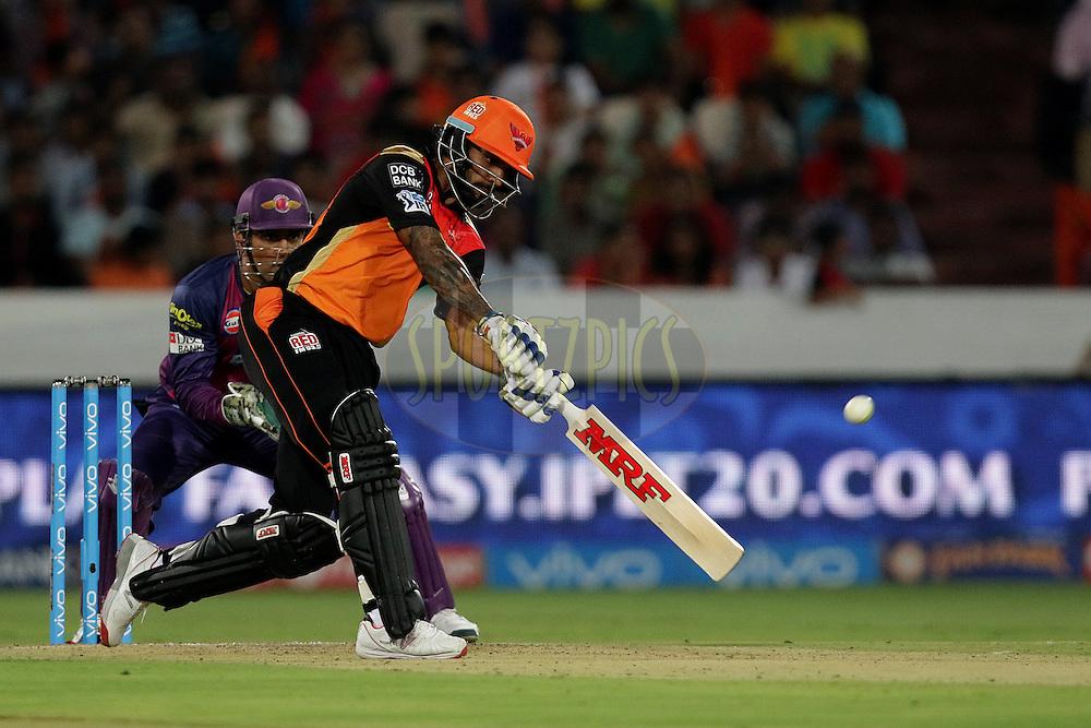Shikhar Dhawan of Sunrisers Hyderabad plays a shot  during match 22 of the Vivo IPL 2016 (Indian Premier League ) between the Sunrisers Hyderabad and the Rising Pune Supergiants held at the Rajiv Gandhi Intl. Cricket Stadium, Hyderabad on the 26th April 2016<br /> <br /> Photo by Rahul Gulati / IPL/ SPORTZPICS