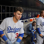 NEW YORK, NEW YORK - May 28:  Joc Pederson #31 of the Los Angeles Dodgers and Justin Turner #10 of the Los Angeles Dodgers in the dugout during the Los Angeles Dodgers Vs New York Mets regular season MLB game at Citi Field on May 28, 2016 in New York City. (Photo by Tim Clayton/Corbis via Getty Images)