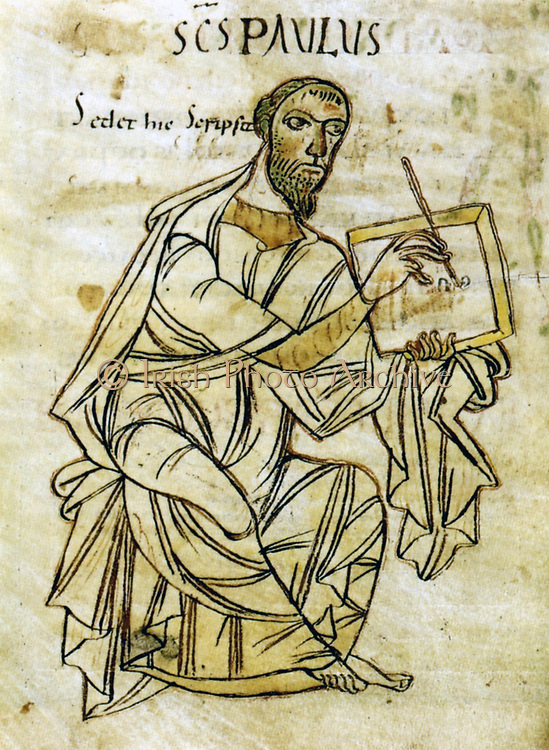 Saint Paul writing. From an early 9th century manuscript version of Saint Paul's letters. The manuscript is ascribed to the Monastery of St. Gallen under the scribe Wolfcoz.