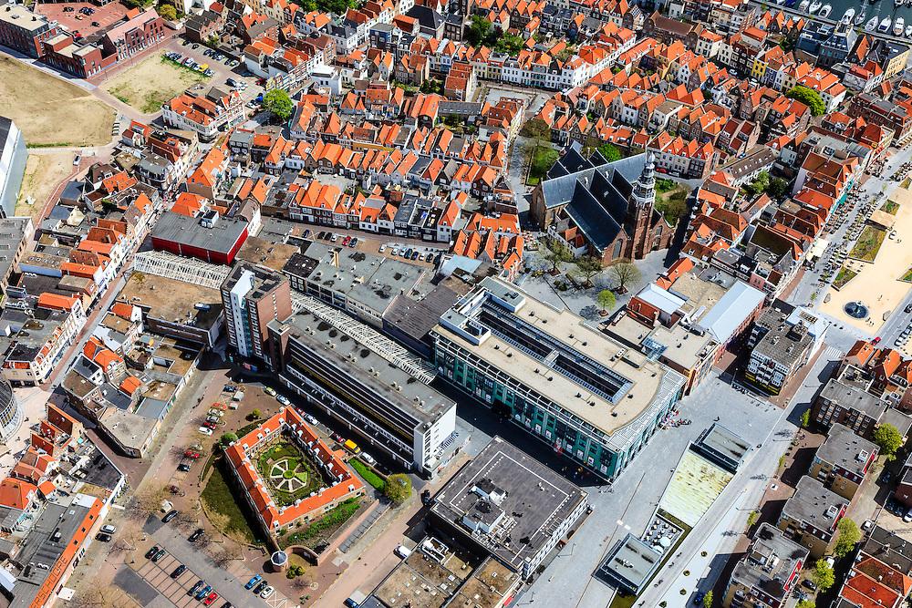 Nederland, Zeeland, Walcheren, 09-05-2013; Vlissingen, binnenstad met Grote of Sint-Jacobskerk.<br /> Flushing, town centre.<br /> luchtfoto (toeslag op standard tarieven)<br /> aerial photo (additional fee required)<br /> copyright foto/photo Siebe Swart