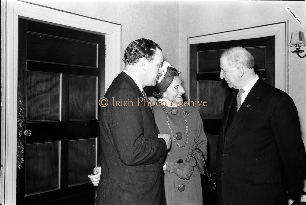 23/05/1963<br /> 05/23/1963<br /> 23 May 1963<br /> Lord Mayor of Limerick received by President Eamon de Valera. Pictured are Mr Donagh O'Malley, Parliamentary Secretary the Minister of Finance , also a native of Limerick; Mayor Mrs Frances Condell and President de Valera at Aras an Uachtarain, Phoenix Park, Dublin.