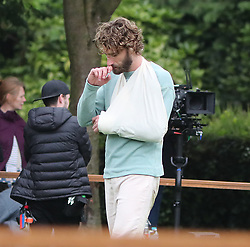 Edward Holcroft slips and injures his arm on day 2 of filming and needs oxygen and his arm putting in a sling