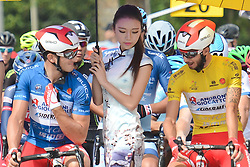 September 16, 2016 - Wuhan, China - (Left-Right) Marco Benfatto - Androni-Giocattoli team (Blue Best Sprinter Jersey), and Mattia De Marchi - Androni Giocattoli (Yellow Leader Jersey), ahead of the final sixth stage, 99.6km Wuhan Xinzhou Circuit race, of the 2016 Tour of China 1...On Friday, 16 September 2016, in Xinzhou, Wuhan, China. (Credit Image: © Artur Widak/NurPhoto via ZUMA Press)