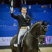 Edward Gal (NED) and Glock's Voice at the FEI World Cup Dressage Finals in Omaha, Nebraska.