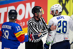 Ziga Pance of Slovenia, linesman Frederic Monnaie (BEL) and Jurij Repe of Slovenia during ice hockey match between South Korea and Slovenia at IIHF World Championship DIV. I Group A Kazakhstan 2019, on April 30, 2019 in Barys Arena, Nur-Sultan, Kazakhstan. Photo by Matic Klansek Velej / Sportida