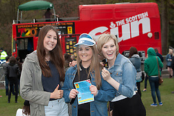 Sarah McGregor, Lauren Orr and Katie Abbott, from Whitburn. T in the Park Roadshow with The View at the first performance at Kelvingrove Park..© Michael Schofield..
