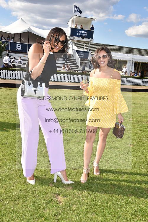 Georgia May Foote and Amal Fashanu at the Laureus polo Cup at Ham Polo Club, Ham, London, England. 21 June 2018.