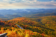 View of autumn colors from the Tanawha Trail located on Grandfather Mountain near Blowing Rock, North Carolina
