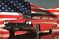 The bold, distinctive spirit of America comes alive in this powerful depiction of a classic Plymouth car. In the background, we can find the Stars and Stripes displayed proudly. A slight wind gives it the desired effect. Rich colors and lovely detail makes this a perfect example of fine art for those who believe that can be seamlessly combined with patriotism. To watch this piece, you will feel as though you are being filled with a sense of pride. Images as powerful as these can give us the energy and conviction we had in our youth. Available as t-shirts, wall art, or interior décor products. .<br />