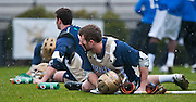 Irish players stretch before match up with Duke. The third-ranked Fighting Irish defeated sixth-ranked Duke, 13-5, in men's lacrosse action on a snowy Saturday afternoon at Koskinen Stadium in Durham, N.C.