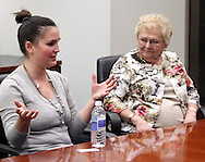 Monica Deal of Beavercreek (left) and Shirley Jackson of Huber Heights during an Ideas & Voices roundtable in the editorial boardroom at the Cox Media Group - Ohio in Dayton, Wednesday, April 25, 2012.