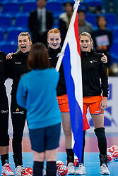 13-12-2019 JAP: Semi Final Netherlands - Russia, Kumamoto<br /> The Netherlands beat Russia in the semifinals 33-22 and qualify for the final on Sunday in Park Dome at 24th IHF Women's Handball World Championship / Tess Wester #33 of Netherlands, Dione Housheer #27 of Netherlands, Estavana Polman #79 of Netherlands