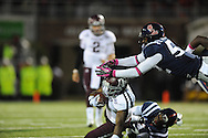 Texas A&M running back Ben Malena (1) is tackled by Ole Miss linebacker Denzel Nkemdiche (4) and Ole Miss linebacker Mike Marry (52) in Oxford, Miss. on Saturday, October 6, 2012. Texas A&M won 30-27...