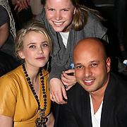 NLD/Amsterdam/20080126 - Modeshow Biby van der Velden tijdens de Amsterdam Fashionweek 2008, Caro Lenssen, Maria Kooistra en partner Steve te Pas