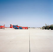 Official publicity portrait for the Red Arrows, Britain's RAF aerobatic team in mid-day glare at RAF Akrotiri.