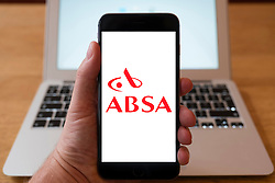 Using iPhone smart phone to display website logo of ABSA , Barclays Africa Group