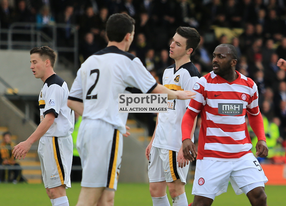 Jason Scotland looks on after scoring the equaliser during the Dumbarton FC  V Hamilton Academical FC  Scottish Championship  26th April 2014 ©Edward Linton | SportPix.org.uk