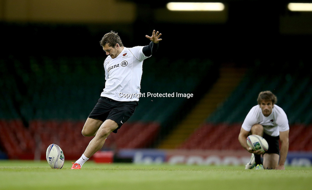 Saracens Captain's Run, Millennium Stadium, Cardiff, Wales 23/5/2014<br /> Saracens' Alex Goode during kicking practice today ahead of Saturday's Heineken Cup Final against Toulon<br /> Mandatory Credit &copy;INPHO/Dan Sheridan