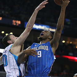 18 February 2009: Orlando Magic forward Rashard Lewis (9) shoots over Ryan Bowen (40) during a NBA basketball game between the Orlando Magic and the New Orleans Hornets at the New Orleans Arena in New Orleans, Louisiana.