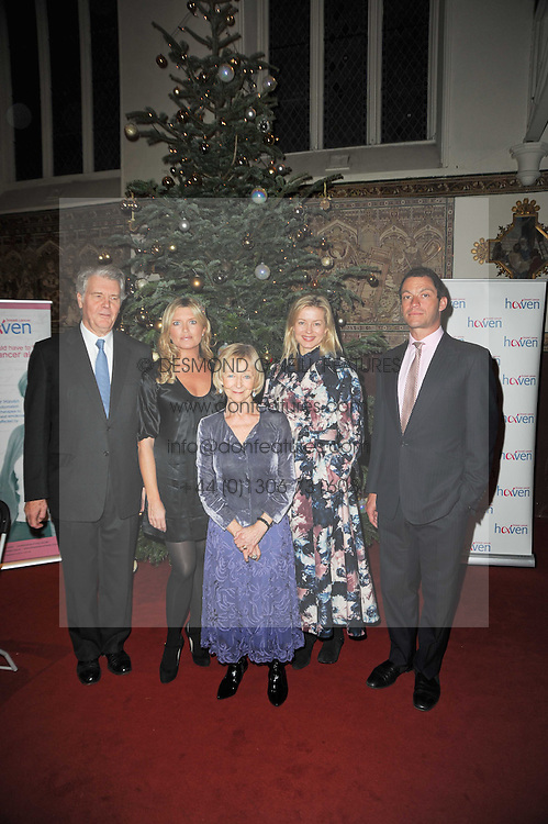 Left to right, JAMES FOX, TINA HOBLEY, SHEILA REID, LADY HELEN TAYLOR and DOMINIC WEST at a Christmas Carol service in aid of Breast Cancer Haven held at St.Paul's Knighsbridge, Wilton Place, London on 8th December 2009.