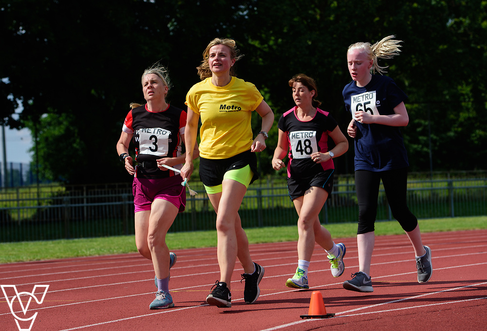 Metro Blind Sport's 2017 Athletics Open held at Mile End Stadium.  5000m.  From left, Lynn Cox with guide runner, Deborah Reynolds and Emma Quigley<br /> <br /> Picture: Chris Vaughan Photography for Metro Blind Sport<br /> Date: June 17, 2017