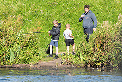 © Licensed to London News Pictures. 12/09/2020. Walkden, UK. People enjoy the sunny weather at Blackleach Country Park, Greater Manchester. The UK is set for a heatwave next week. Photo credit: Kerry Elsworth/LNP